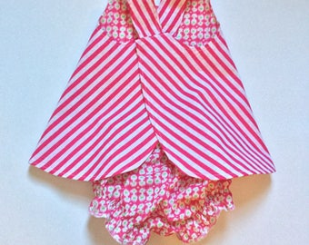 Baby Pinafore, Matching Bloomers, Baby Outfit, Size 6 month