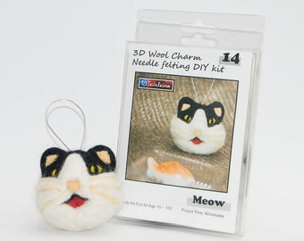 Needle Felting DIY Kit - Meow Cat 3D Wool Charm - Ship from USA