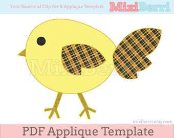 Yellow Bird Applique Template Chick Template PDF Instant Download