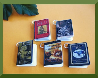 Steampunk Miniature Book Charms Spooky Classics Inspired  Set of Five