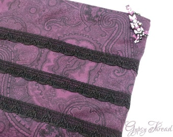 iPad Tablet Gadget Cover, Dark Purple and Black Paisley Velveteen with Black Crocheted Lace