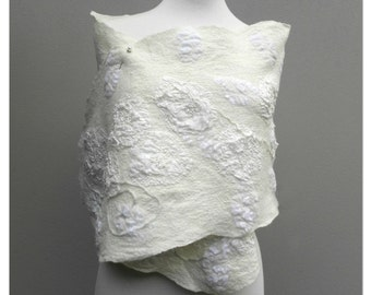 White Wool Stole - Special Occasion Wrap - Bridal Shoulder Cover - Australia