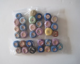 Lot of 33 Spools, J & P Coats, Tatting Cotton, Crochet, Various Colors, Some Variegated, Some New, Some Used, Craft, Supply