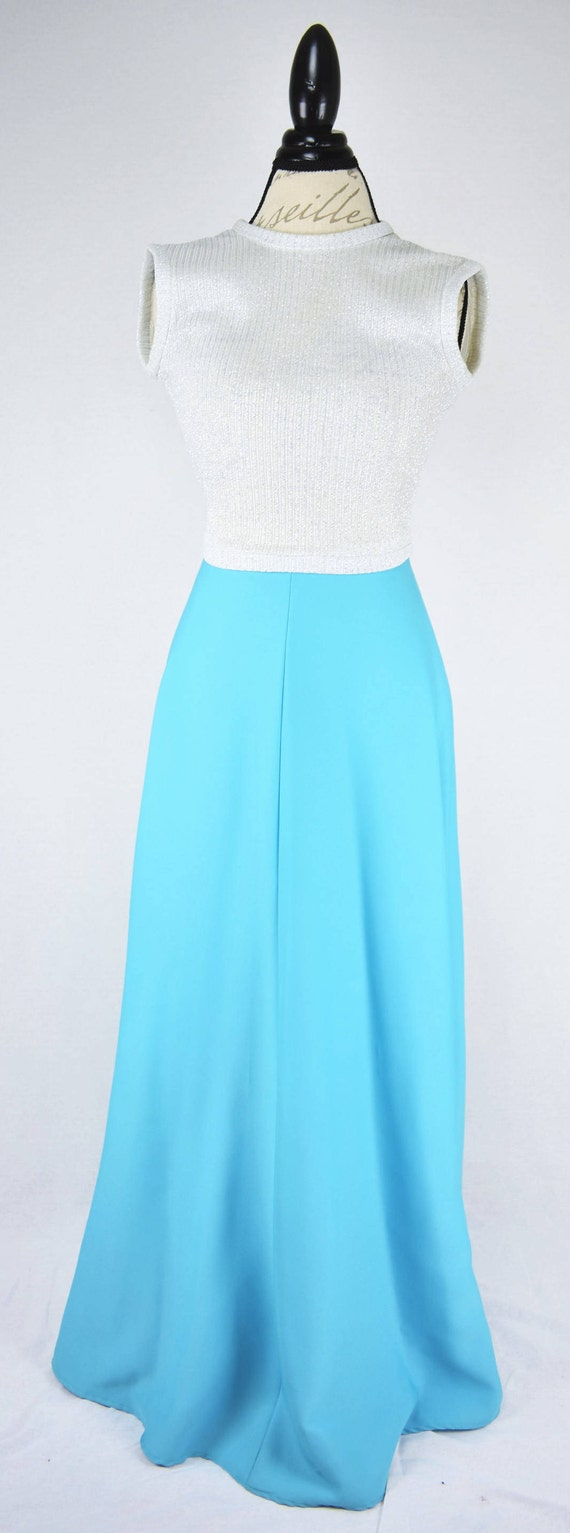 1960s 70s Vicky Vaughn Blue Prom Dress with Silver Glitter Top