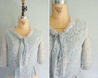 1940s Josephine lace blouse   vintage 40s lace top   antique blue lace top