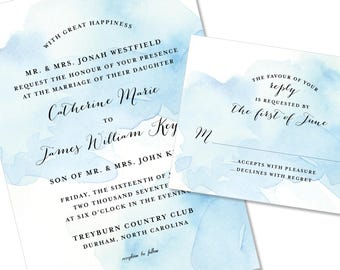 Watercolor Wedding Invitation | Ombre dip dyed Wedding Invitation | DIY Option Available | Invitation | RSVP | Info Card #1180
