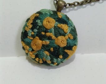 Embroidered Pendant, Antique Bronze, Canvas Fabric, Floral Embroidery, Handmade Embroidery
