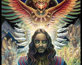 "12""x16"" Eco Art Print - ""Moment of Truth"" by Ishka Lha - Altar Art - Mystical Art - Visionary Art - Shamanic Art - Meditative Art"