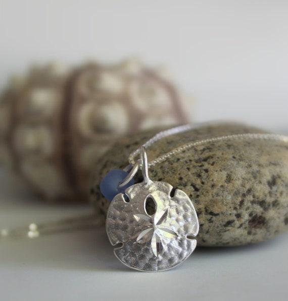 Little Sand Dollar sea glass necklace in cornflower blue