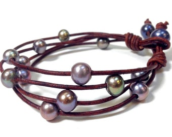 Leather and Pearl Jewelry - Leather Bracelet (Abigail-NP)