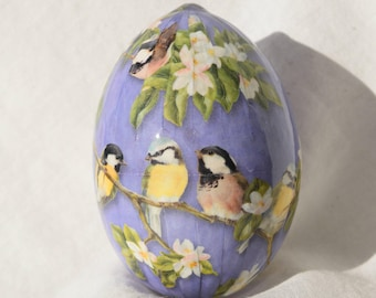 Chickadees on Real egg covered  Decorative paper Decoupage egg Easter Egg Easter Basket egg Easter Egg ornament  Made in Michigan USA