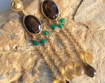 FREE SHIPPING Cascade EARRINGS sterling gold jade citrine smokey quartz gem gemstone