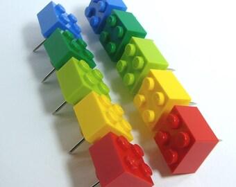 Toy Brick Thumb Tacks, set of 10
