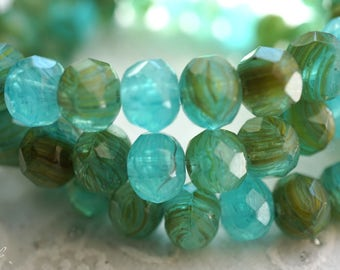 Lagoon Pebbles, Rondelle Beads, Czech Beads, Beads, N2320