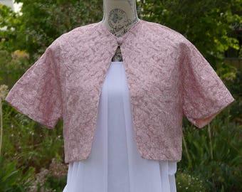 Pink Short Sleeve Wedding Bolero Vintage Clothing Gift Womens Clothing Summer Evening Jacket Alternative Wedding Handmade Clothing for Women