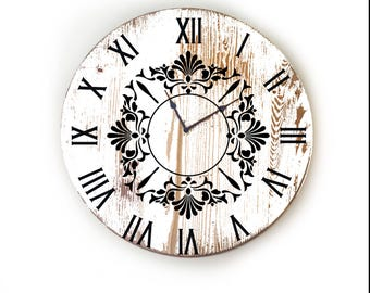 "Farmhouse Wall Clock, Large Wall Clock, Oversized Wall Clock, Unique Wall Clock, Rustic Wall Clock, Personalized Clock 18"" or 24"" In."