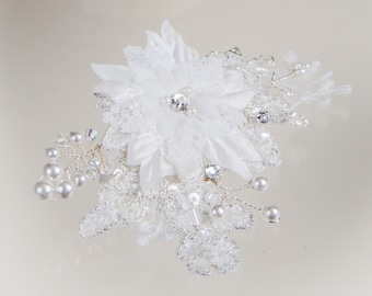 Bridal Lace crystal hair clip, vine, Swarovski crystal, wedding hairclip, hairpiece,  fascinator, freshwater pearl sprays,