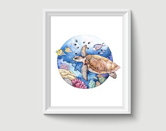 Turtle Animal Watercolour Painting Drawing Art Print A400