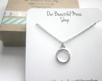 Silver Ring Necklace / Circle Necklace / Ring Pendant / Gifts for Her / Birthday for Her / Bridesmaid Gift / Christmas Gift
