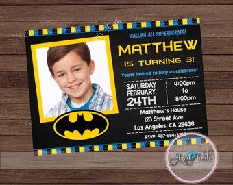 Batman Party Invitation, Batman Birthday Invitation with Photo, Batman Birthday Party Invitation, Batman Chalkboard Invitation, Digital File