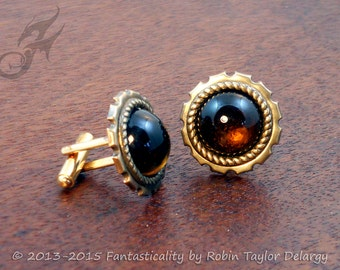 Victorian Steampunk CUFF LINKS Cufflinks Vintage Topaz Glass Cabochons and Brass Wedding Groom CL0002 by Robin Taylor Delargy RTD