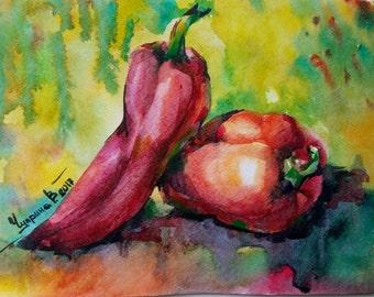 Watercolor Painting Original Art Red Pepper Fruit Art Watercolor Painting vegetable artwork Kitchen Wall Art Botanical home decor Veggie art
