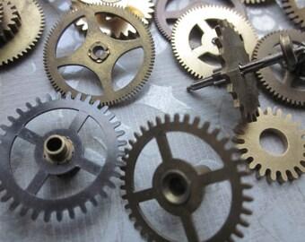4 Vintage Small Brass Gears