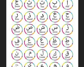 Printable Circle Multicoloured Arabic Alphabet with Transliteration Art Print- Instant Download