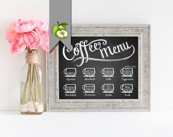 Coffee sign, printable, kitchen art, cafe art, coffee menu, dinning room , kitchen printable, espresso, cappuccino, flat white, chalkboard