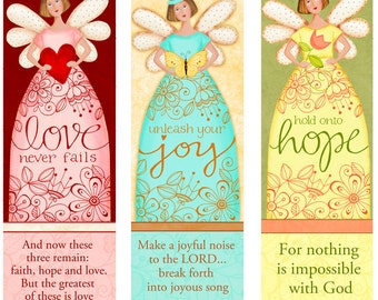 Angelic Trio INSTANT DOWNLOAD - Love - Hope- Joy - Bible Bookmarks Digital Download Printable Clip Art and Crafting KD128