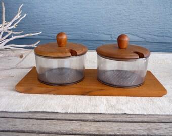 Vintage Danish Modern Teak Condiment Bowl Set, Teak Tray with Acrylic Bowls, Made in Denmark
