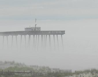 Foggy Beach Photography, Grey Beach Print, Ocean City Fishing Pier,Coastal Wall Art,Beach Art Print,Nature Photography,Ocean Print,Ocean Art