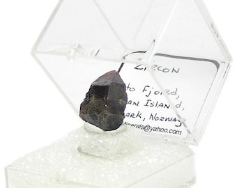 Zircon Crystal, Russet Brown Thumbnail Geo Mineral Specimen from Norway, from an estate geo collection