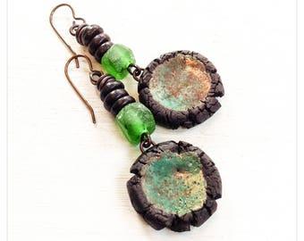 Minthe - rustic ceramic earrings - chocolate brown earrings - brown and green - rustic ceramic earrings - recycled glass earrings