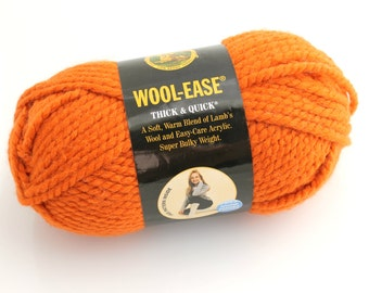 Lion Brand Wool-Ease Yarn. Bulky. Pumpkin.