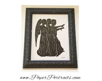 Don't Blink,  Weepin Angels, Dr. Who, Original Hand Cut Silhouette Portrait, Framed
