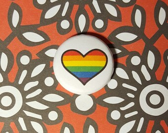 Rainbow Heart LGBT Pinback Button or Magnet