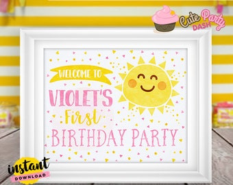 INSTANT DOWNLOAD - EDITABLE You are my Sunshine Welcome sign You are my Sunshine centerpiece Party decorations You are my Sunshine door sign