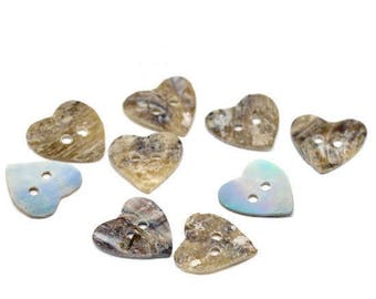 Mother of Pearl 14 mm heart buttons