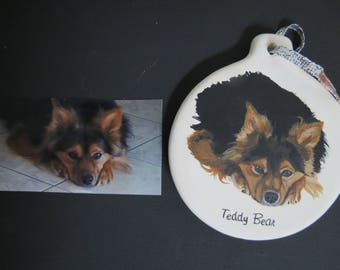 Pet Portrait Ceramic Ornament Hand Painted and Made to Order Using Your Photo Shepherd by Shannon Ivins