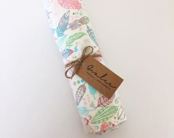 Swaddle Blanket / Feathers / Pastel Colors / Extra Large / Soft Flannel / FREE SHIPPING in USA