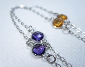 """La Scala Sterling Silver Necklace with Gemstones 32"""" length 0464"""
