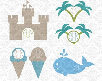Summer Monogram Ice Cream Palm Trees Whale Castle SVG STUDIO Ai EPS Scalable Vector Instant Download Commercial Use FIle Cricut SIlhouette
