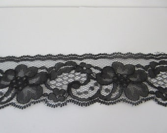 "Black Lace Trim Ribbon 2"" inch wide Floral Lace Flower Sewing Raschel Lace Gift Wrap Gift Basket Wedding Bridal Lace Home Decor WL014"
