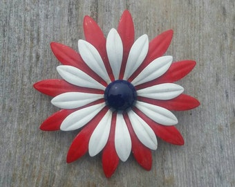 Large Red, White, and Blue Enamel Flower Brooch