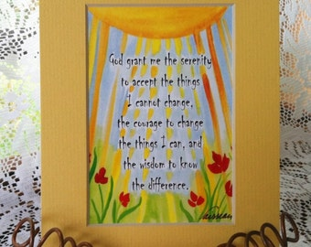 God Grant Me SERENITY PRAYER 5x7 Inspirational Quote Motivational Print Recovery Gift Friends Sobriety Heartful Art by Raphaella Vaisseau
