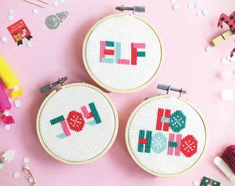 Christmas cross stitch pattern - Geometric Christmas 6 words SET - cross stitch pattern / Instant Download / counted cross stitch / Pattern