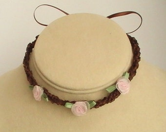 Brown & Pink Child's Knit Ribbon Necklace