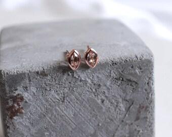 14k rose gold morganite earrings, rose gold earrings, morganite studs, jewelry, morganite earrings