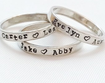 Stacking Rings - Name Ring - Sterling Silver Mom Ring - Christmas gift mom - Personalized Rings - Hand Stamped rings - Stacking name rings